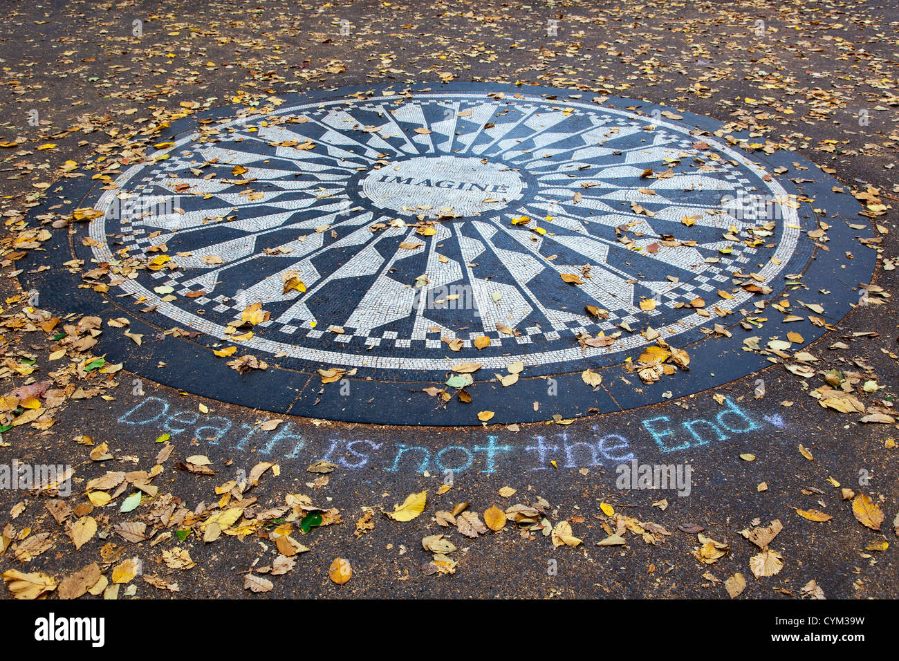 Central Park's Memorial to John Lennon - Stock Image