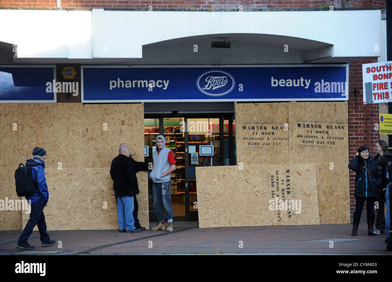 0178d37d1fd Boots the Chemist shop being boarded up ready for the bonfire night ...
