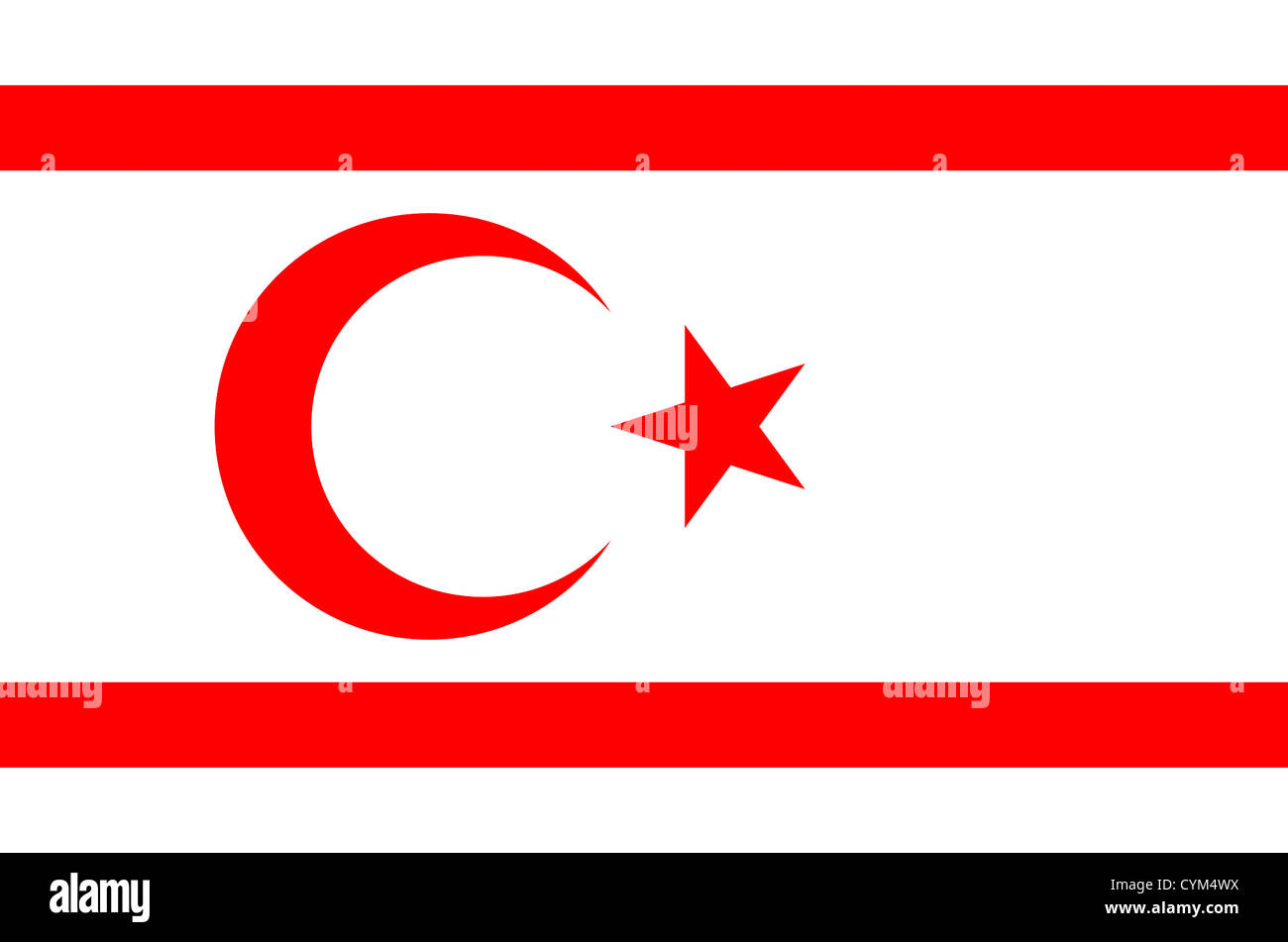 Flag of the Turkish Republic of Northern Cyprus - North Cyprus. - Stock Image