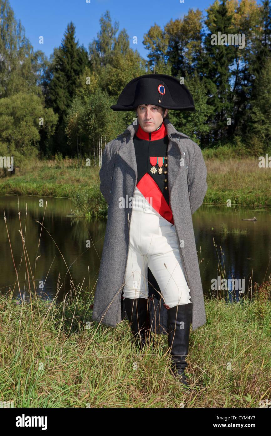 Napoleon Bonaparte posing for a portrait in Borodino, Russia - Stock Image
