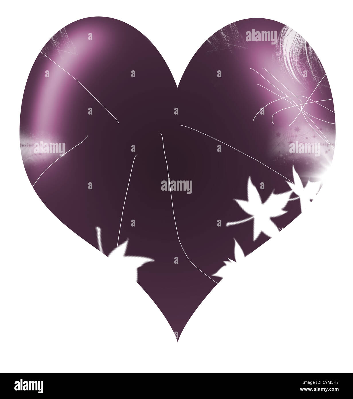 violet abstract heart shape ilustration - Stock Image
