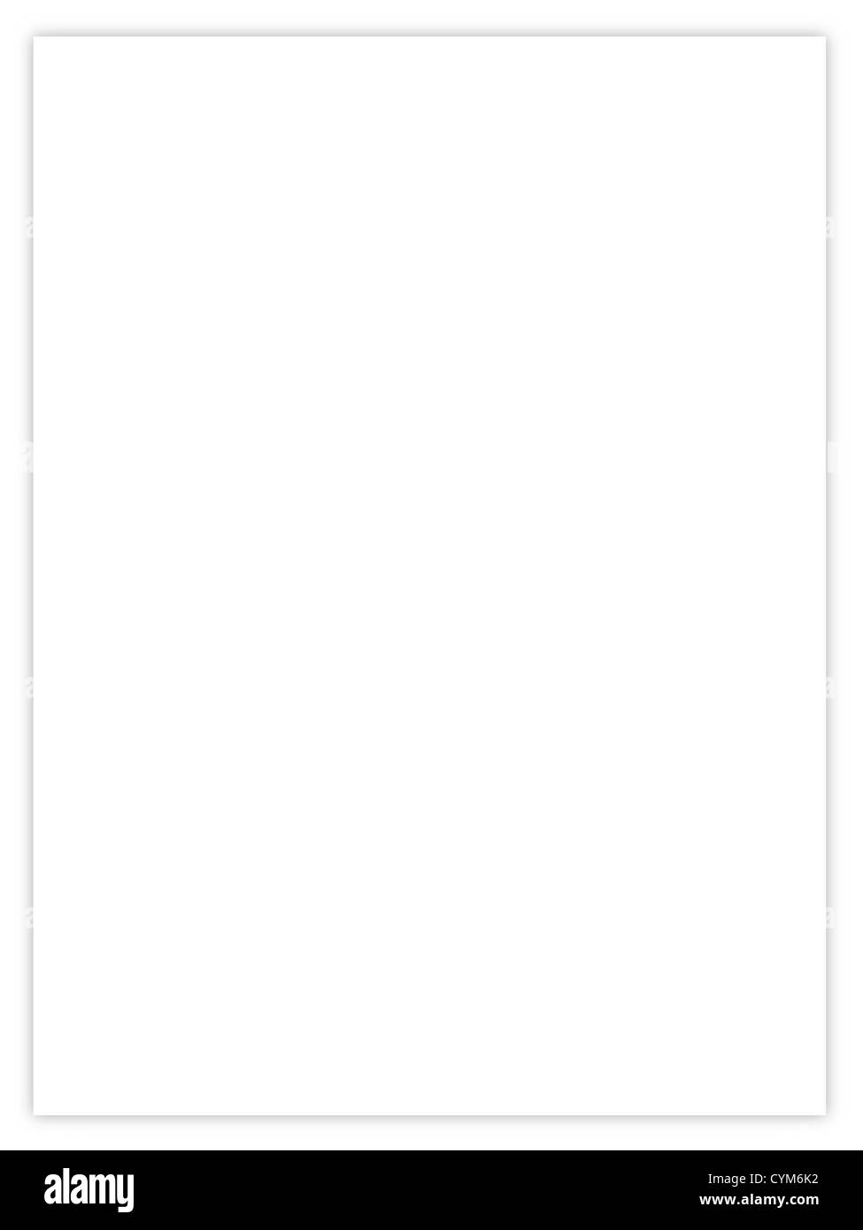 blank sheet of paper with empty copyspace for text - Stock Image