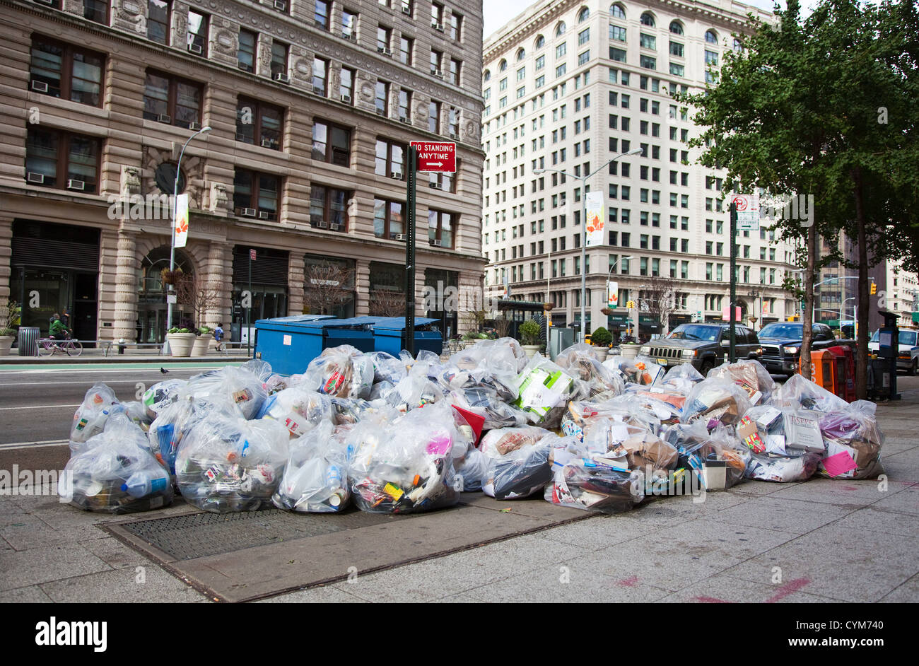Large Amount of Rubbish Bags in the Streets of New York City - Stock Image