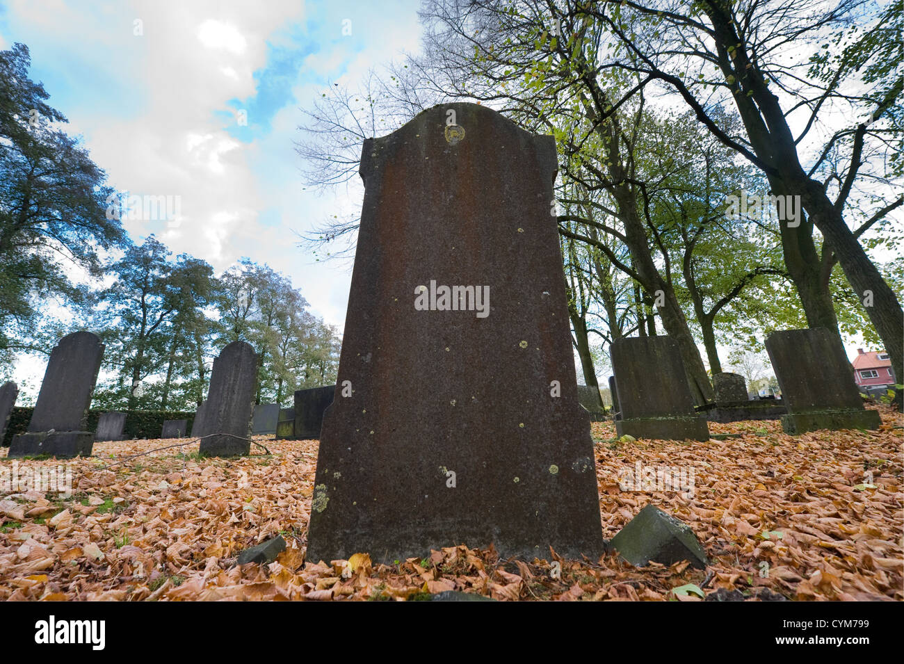 An old tombstone on a cemetery in the autumn - Stock Image