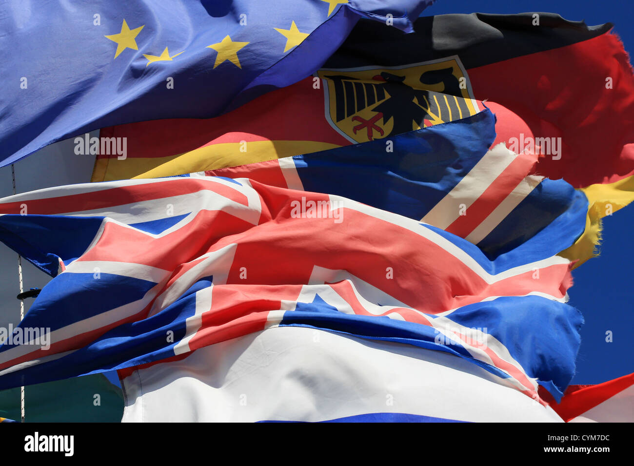 The National Flags Of France UK And Germany Along With European Union Flag All Flying Together Thight Shot