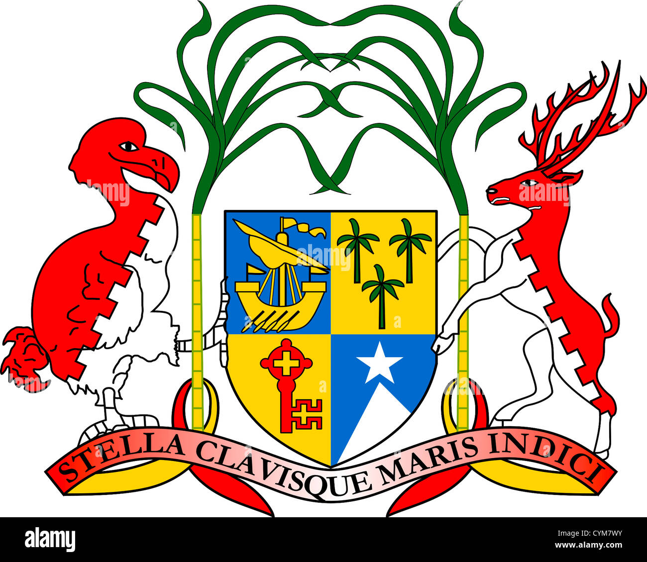 Coat of arms of the Republic of Mauritius. - Stock Image