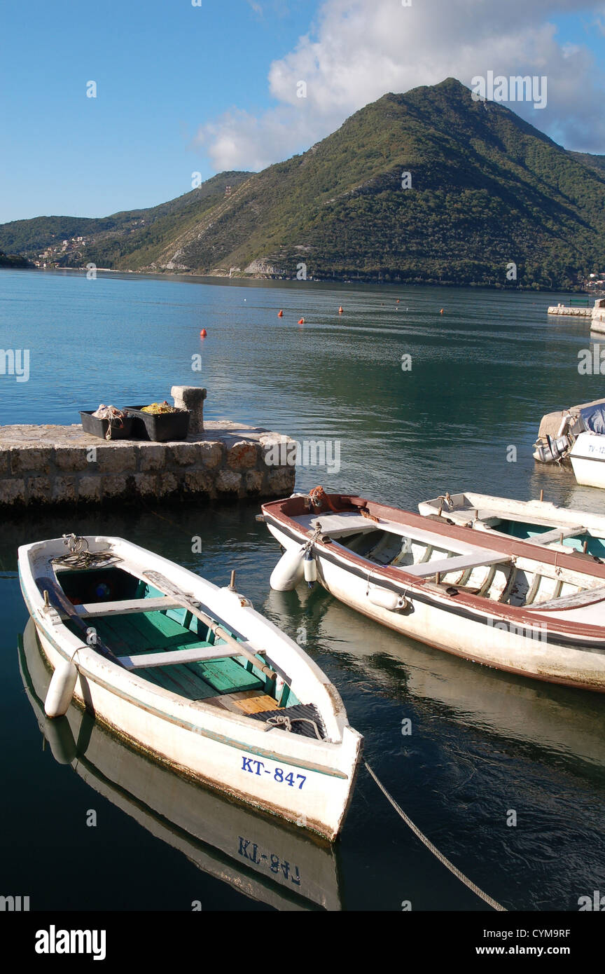 Boats in the harbour, Perast, Montenegro - Stock Image