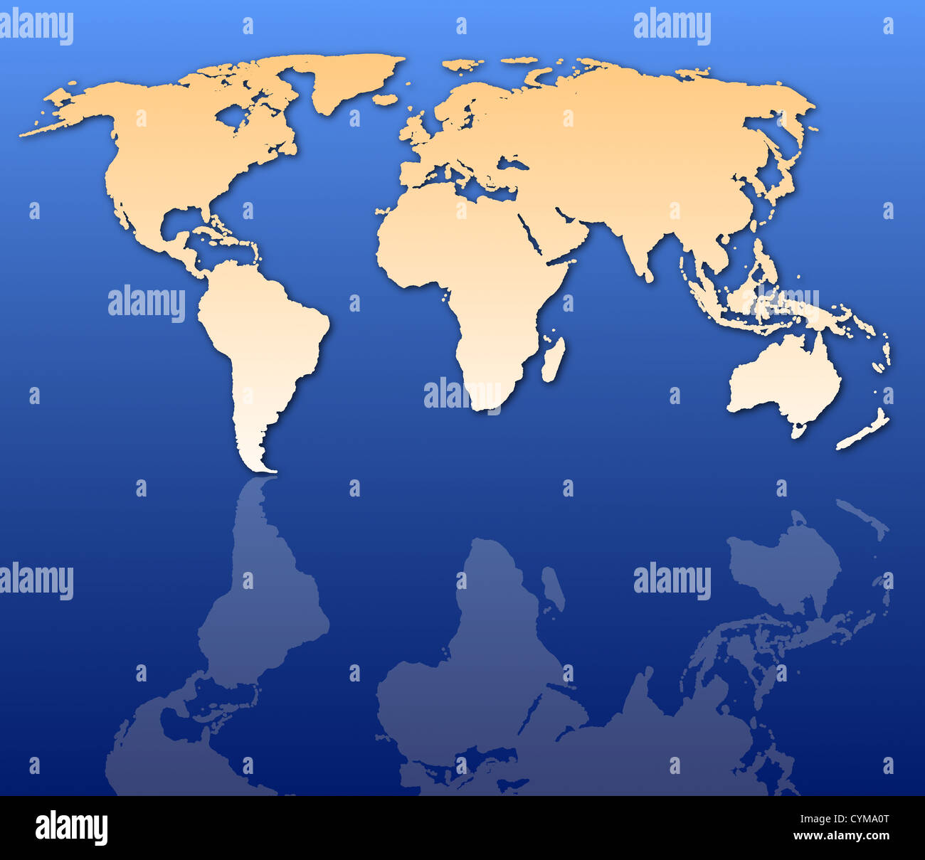 global economy concept with world map in blue - Stock Image