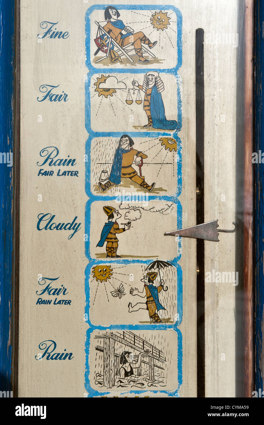 Detail of an illustrated weather forecasting station on the seafront at Hastings, East Sussex - Stock Image