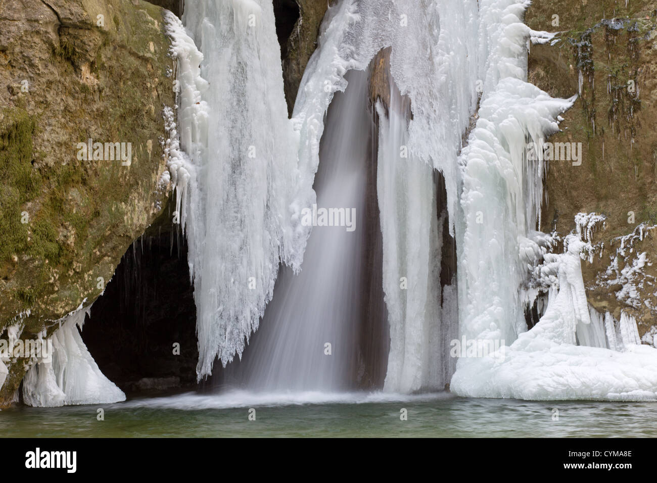 Beautiful particular frozen waterfall Tine de conflens - Stock Image
