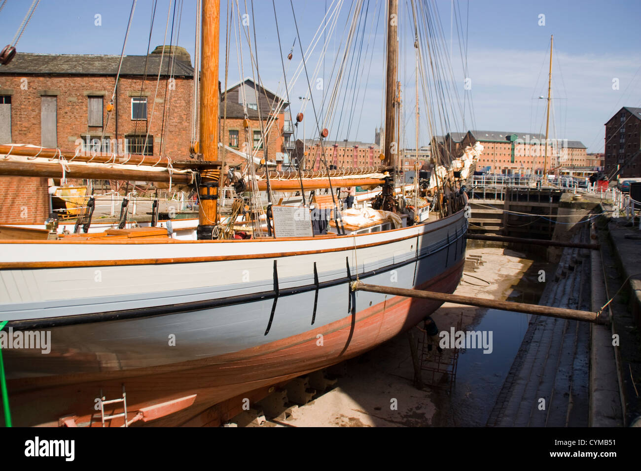 Trading Ketch Irene in dry dock canal basin Gloucester Docks Gloucestershire England UK - Stock Image