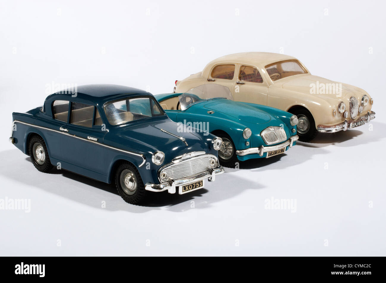 Plastic Triang Minic 1/20th scale electric model cars - Stock Image