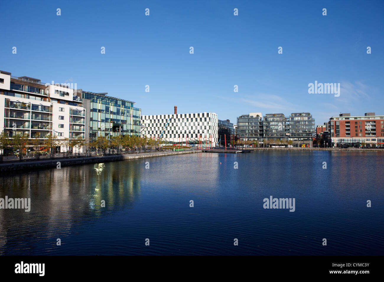 grand canal dock in redeveloped docklands dublin republic of ireland - Stock Image