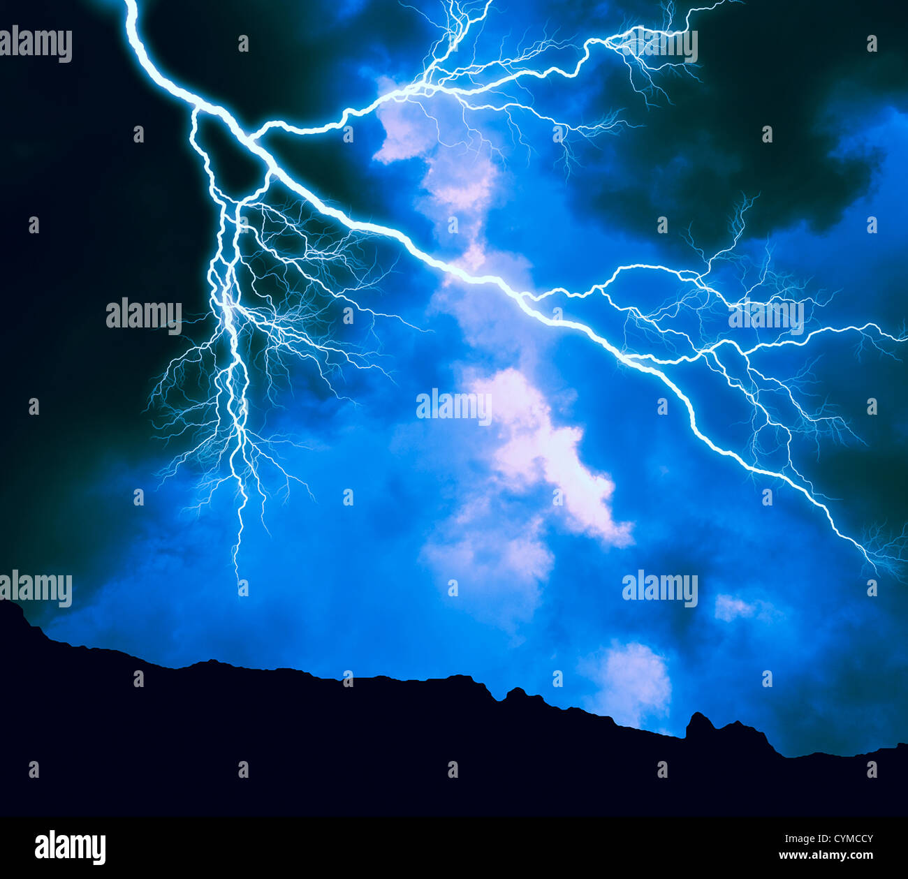 lightning storm in wilderness area - Stock Image