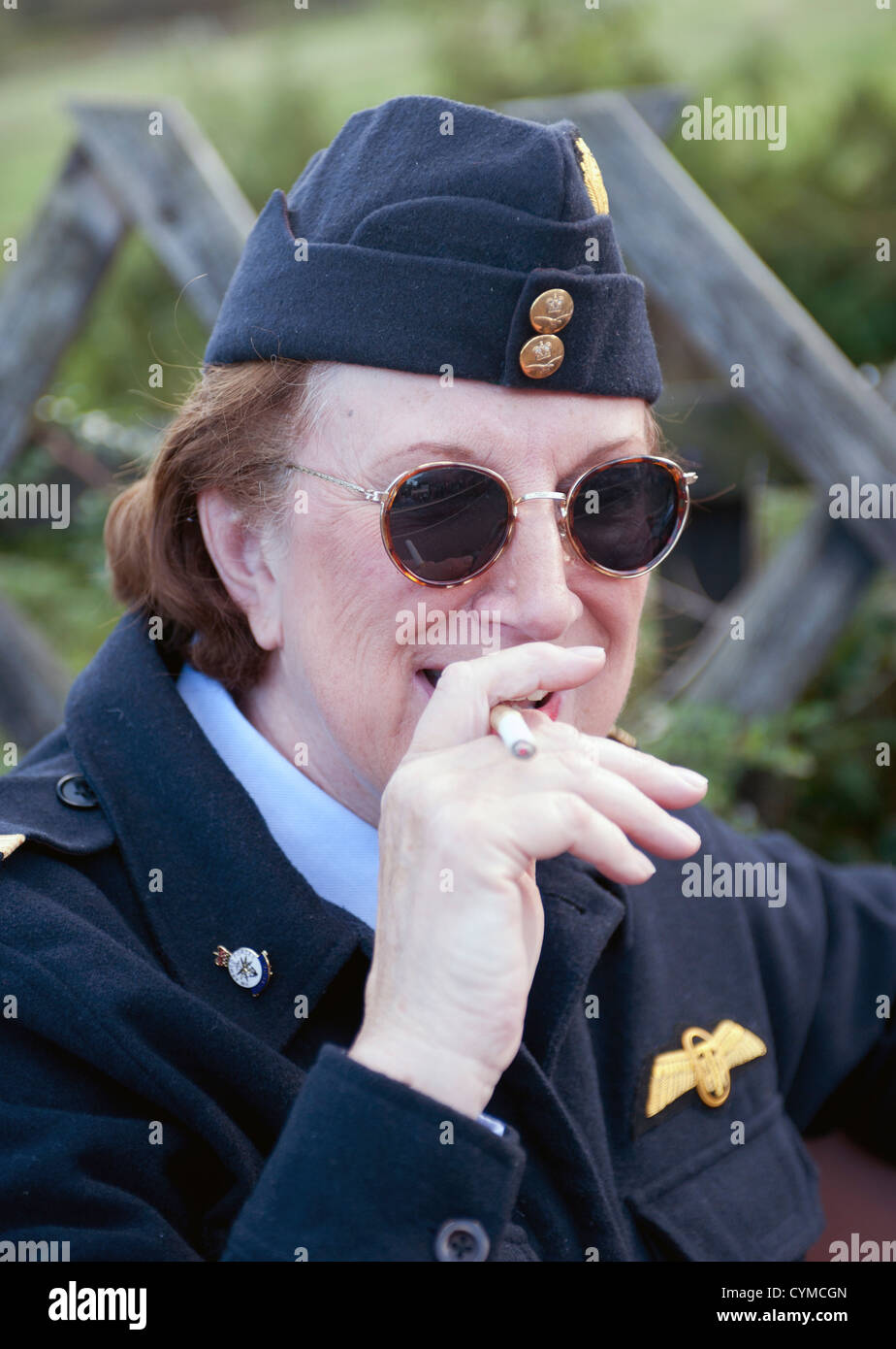 Women smoking in uniform