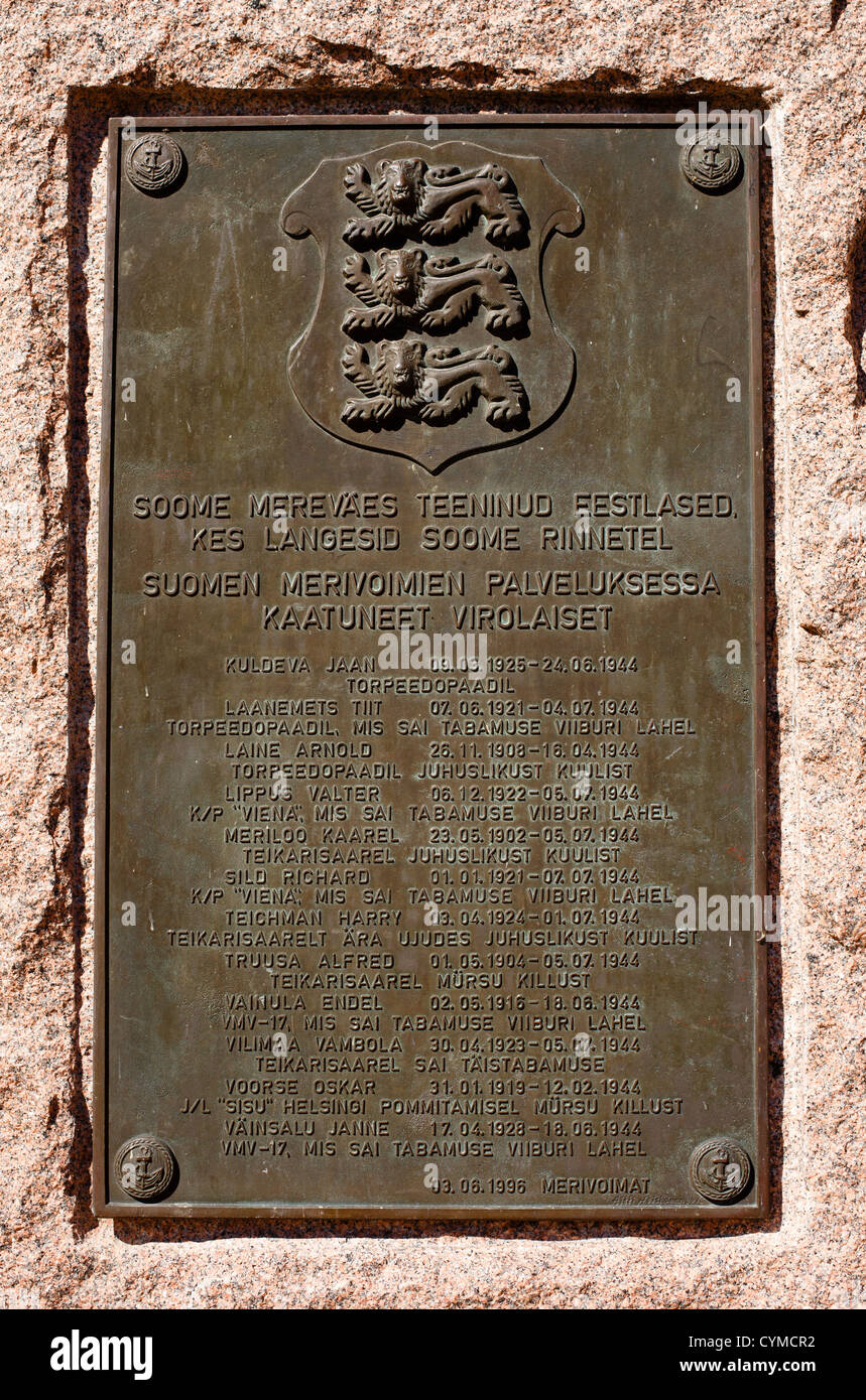 Plaque to commemorate the Estonians who fell in the Second World War in the service of the Finnish Navy. - Stock Image