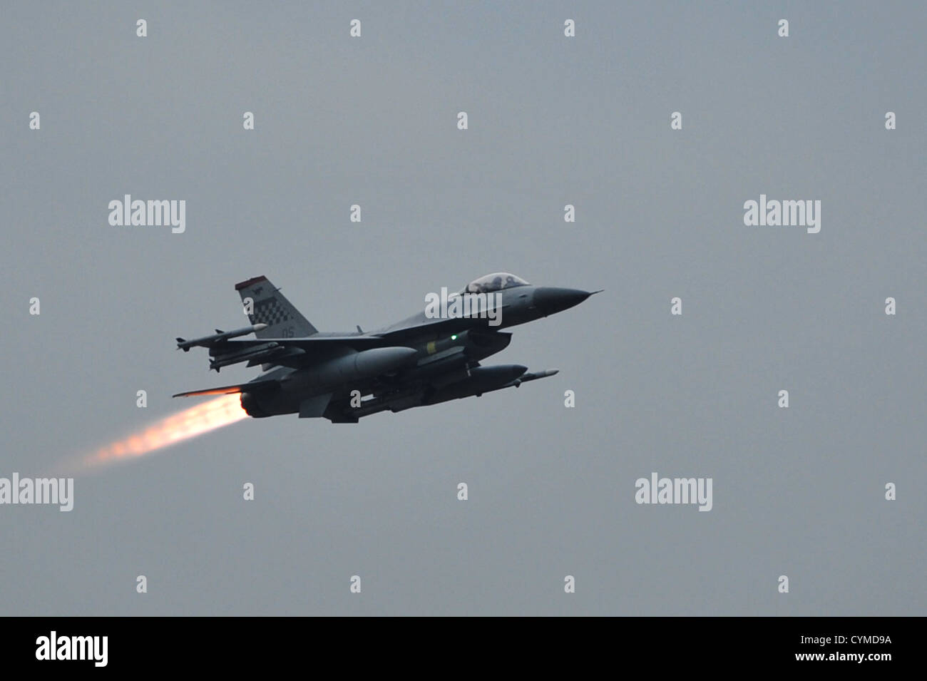 An F-16 Fighting Falcon launches during a combat sortie for operational readiness exercise Beverly Bulldog 13-01 - Stock Image