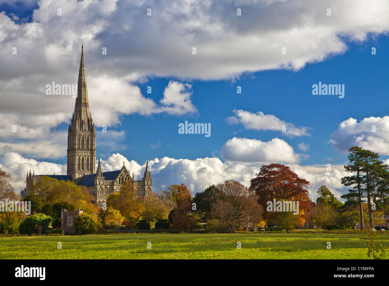Autumn view of the spire of medieval Salisbury Cathedral, Wiltshire