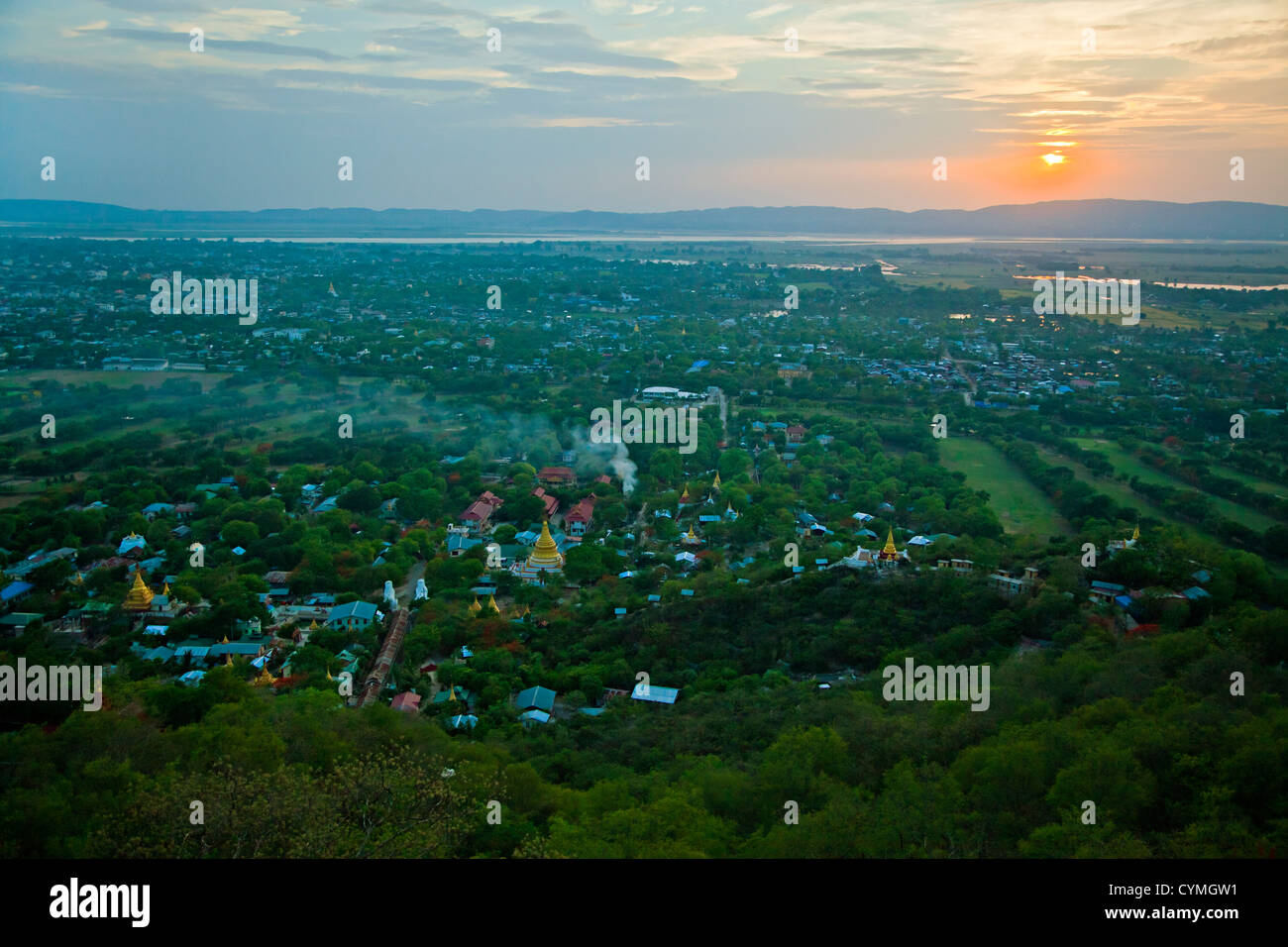 Sunset from MANDALAY HILL with view of the IRRAWADDY RIVER - MANDALAY, MYANMAR - Stock Image