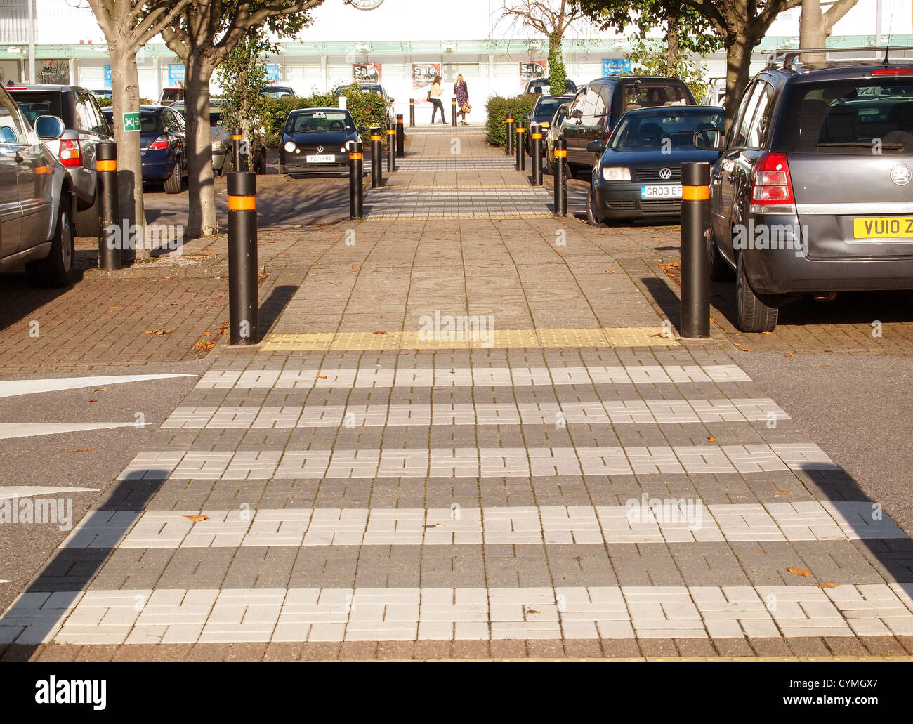 Pedestrian crossing in a retail park, Cribbs Causeway, Bristol, England UK, November 2012 - Stock Image