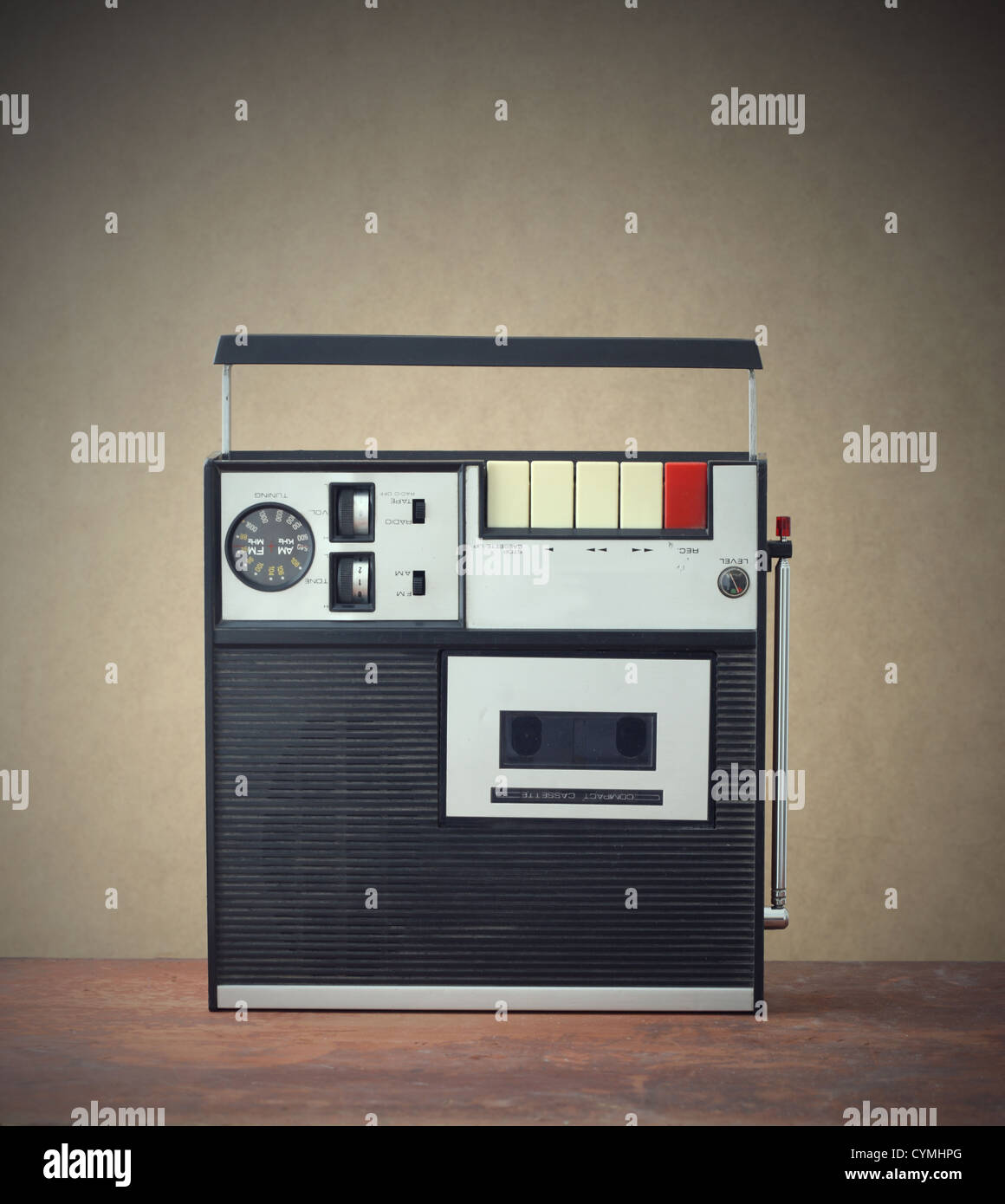 old monophonic cassette recorder from the early 1970s - Stock Image