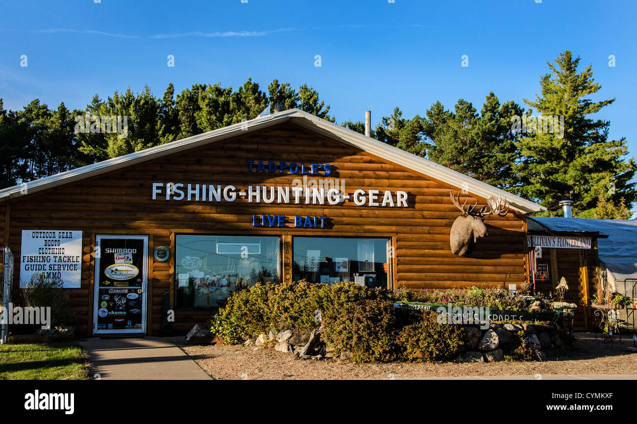Tadpole's Fishing and Hunting Gear in the Northwoods town of  Eagle River, Wisconsin - Stock Image