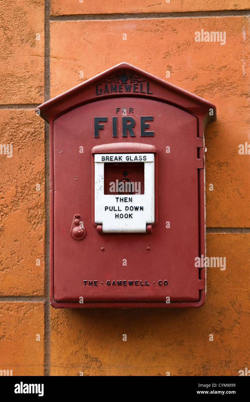 Fire Alarm Box Stock Photos Images Alamy Gamewell Wiring Diagram Old Break Glass System Image