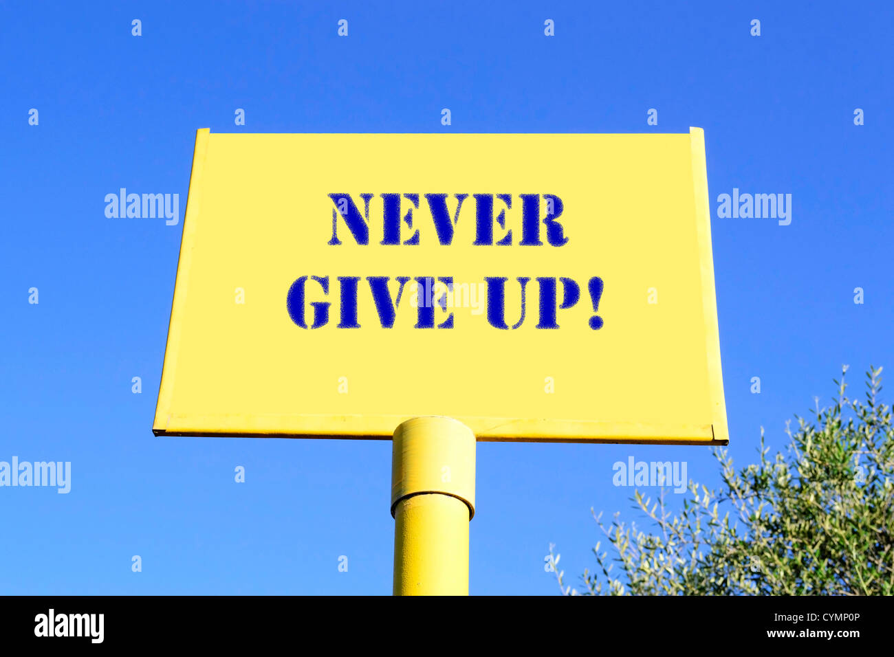 'never give up!' writing on a yellow sign under a clear blue sky - Stock Image