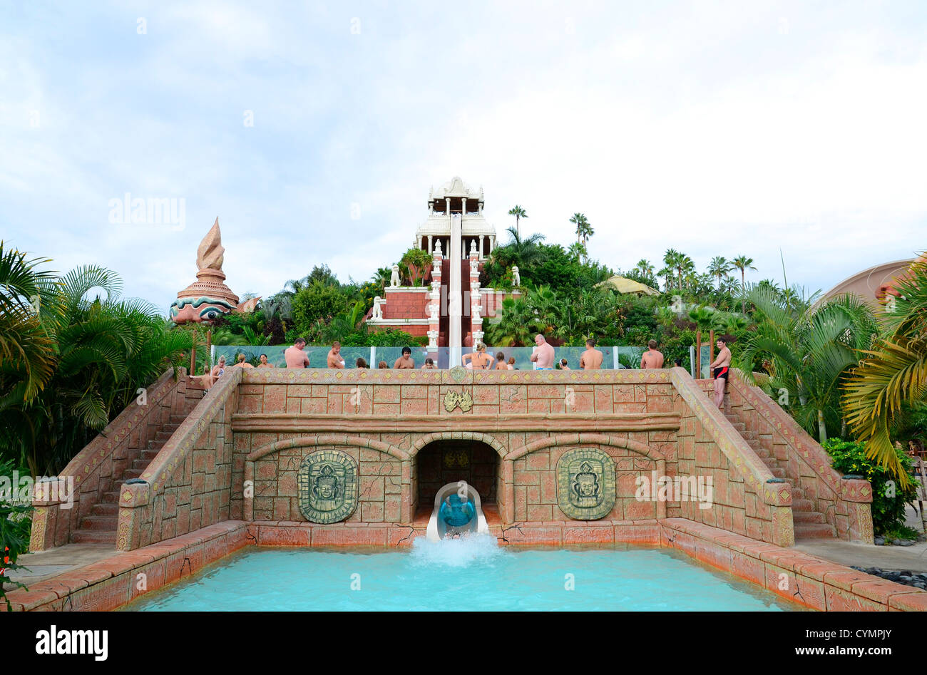 The ' Tower of Power ' water slide at Siam Park on the Costa Adeje in Tenerife, Canary Islands - Stock Image