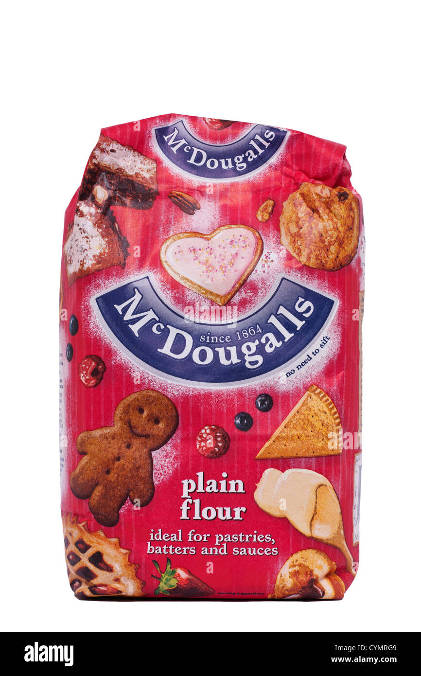 A bag of McDougalls plain flour on a white background - Stock Image