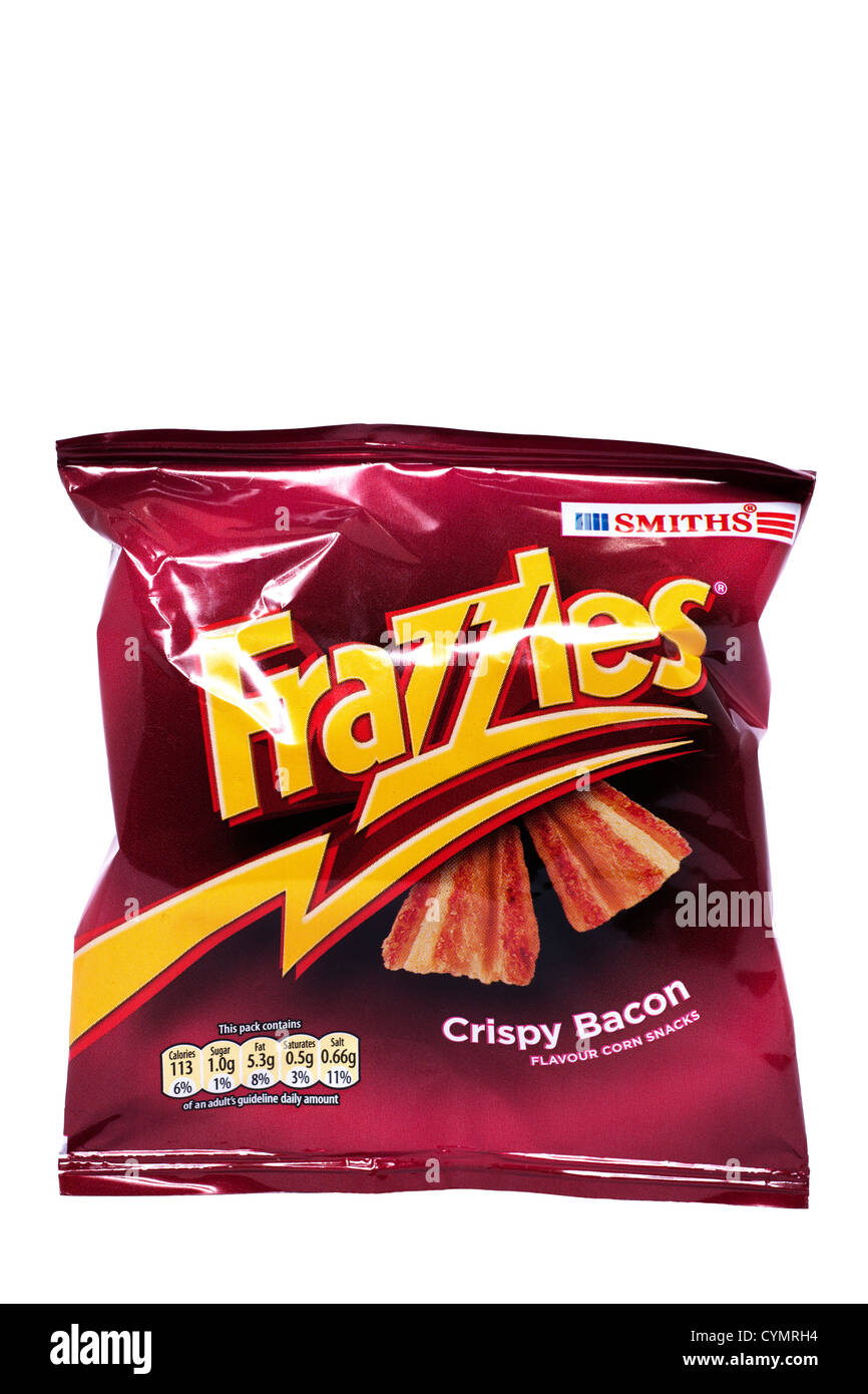 A packet of Smiths Frazzles crisps on a white background - Stock Image