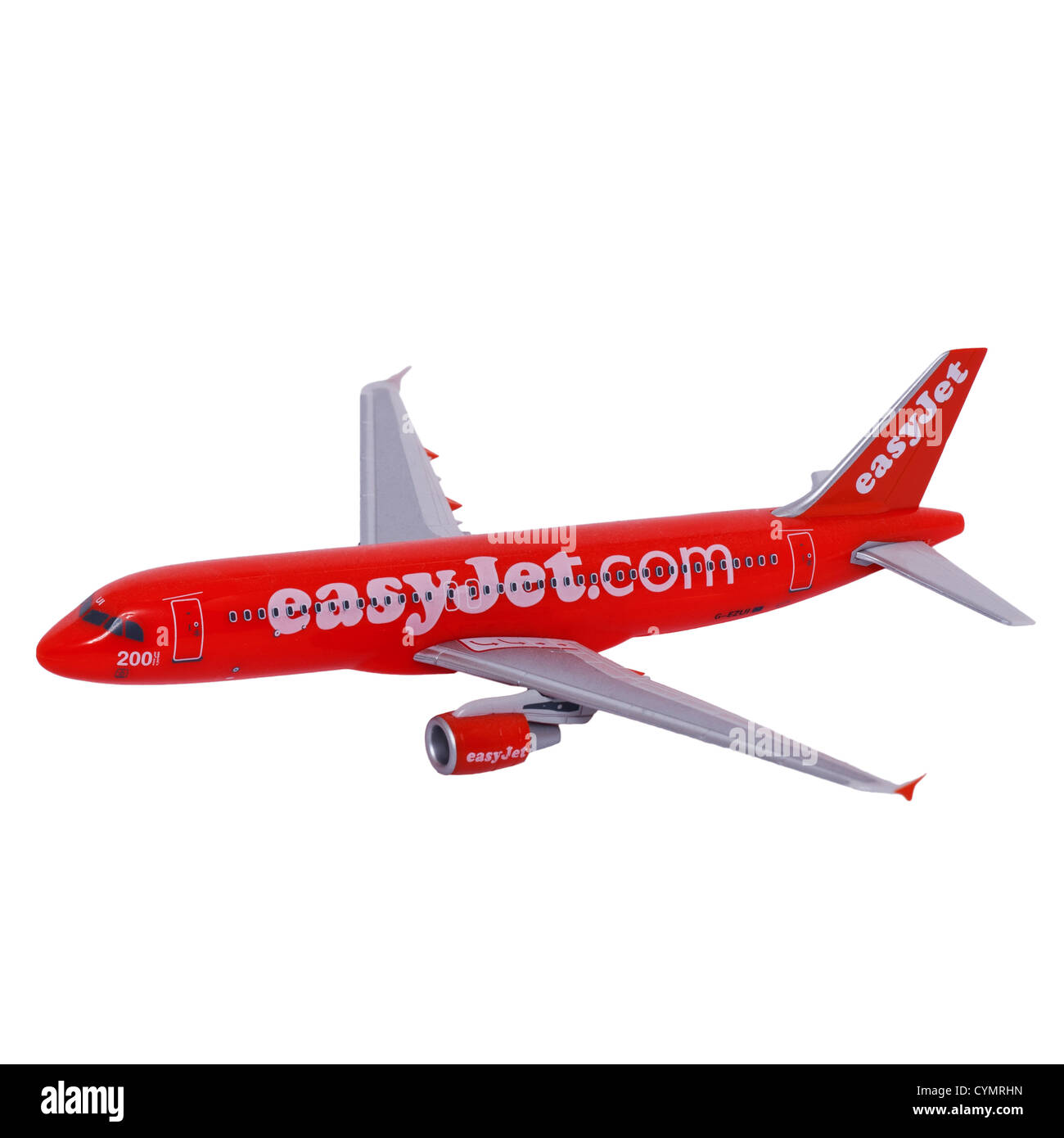 A model easyjet Airbus 320 plane on a white background - Stock Image