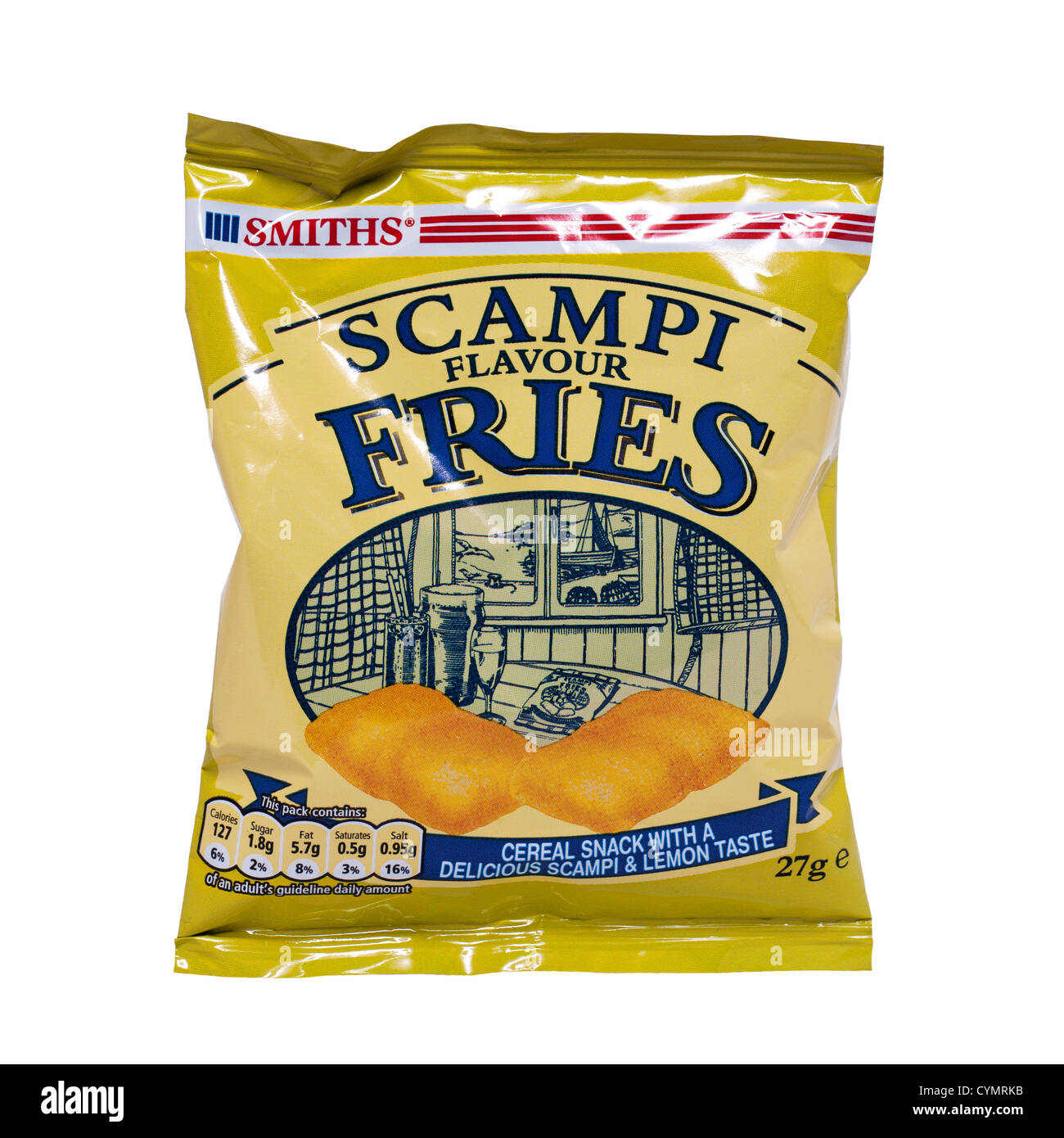 A packet of Smiths Scampi flavour Fries on a white background - Stock Image