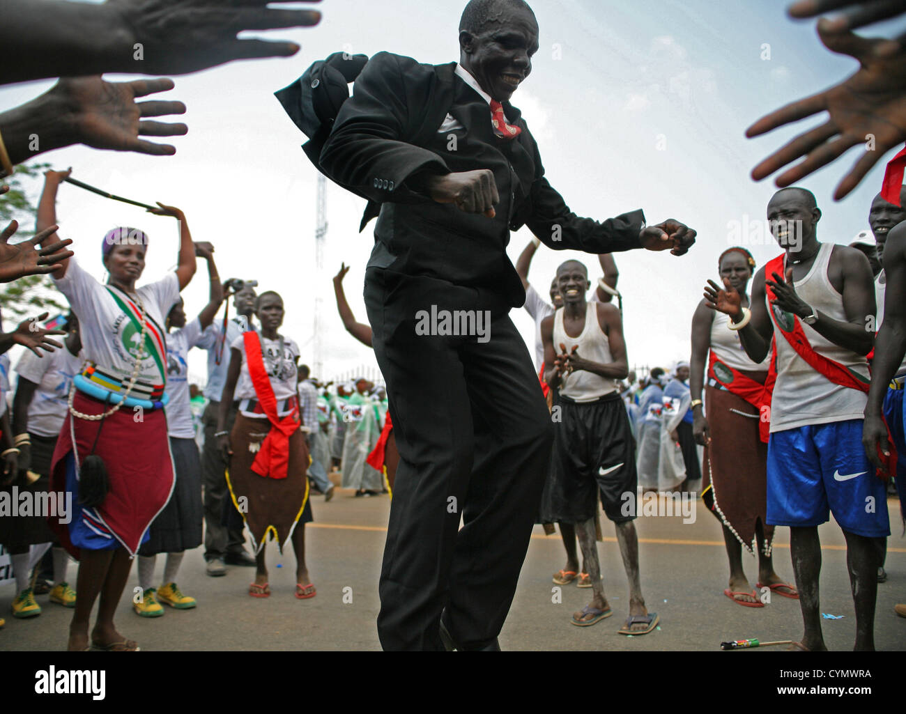 Jump for Joy in Celebration of South Sudanese Independence in Juba on 9 July 2011 - Stock Image