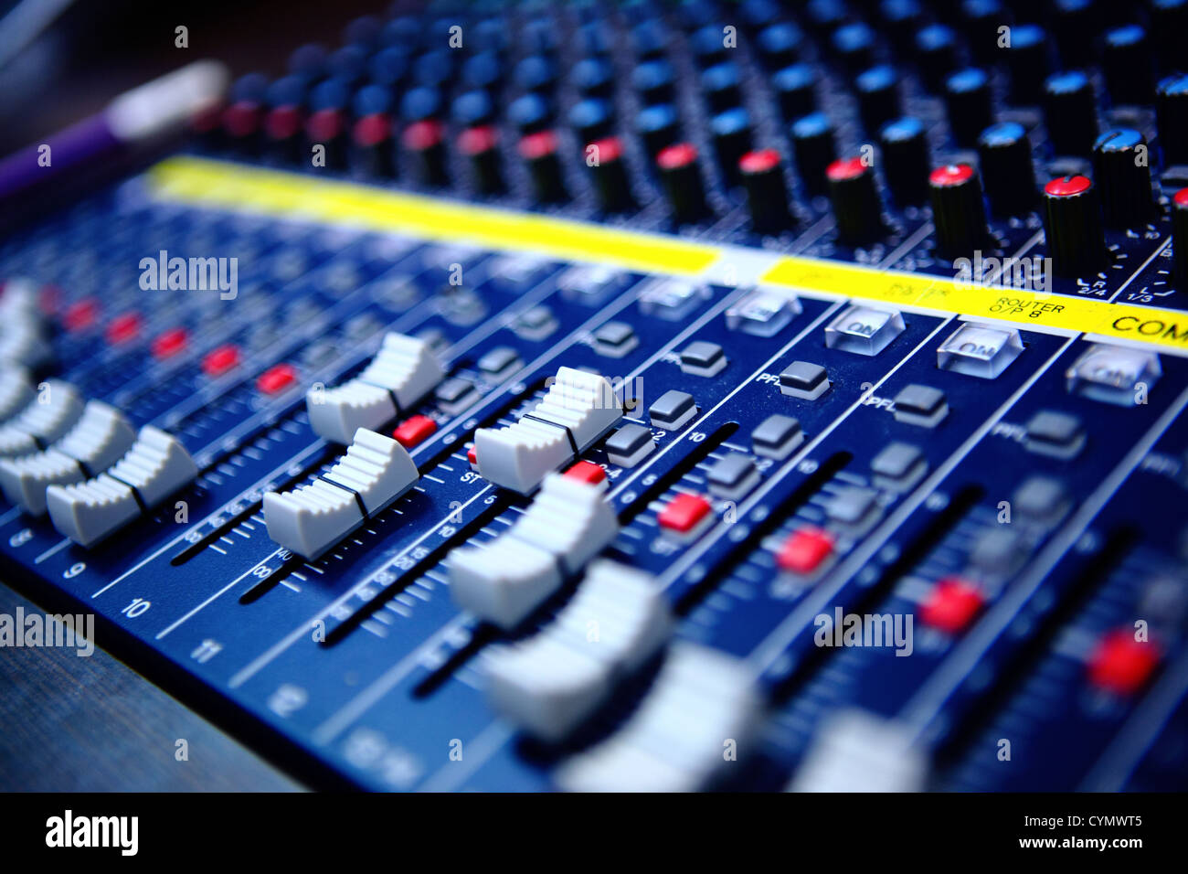 controls of audio mixing console - Stock Image