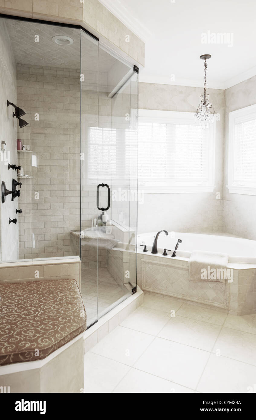 Upscale neutral-toned bathroom with jacuzzi tub and shower. Vertical ...