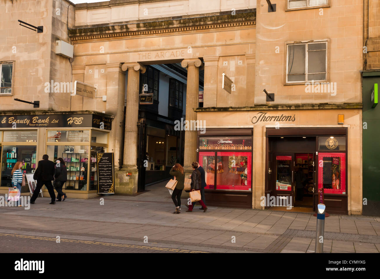 Entrance to The Arcade in Broadmead shopping precinct Bristol, UK. - Stock Image