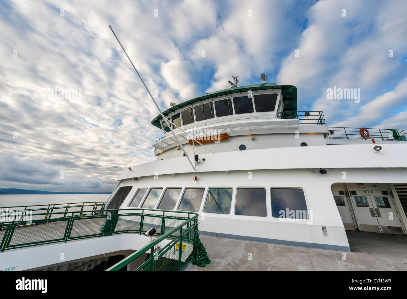 Bridge of the Washington State Ferry 'Puyallup' travelling between Edmonds and Kingston on Puget Sound, - Stock Image