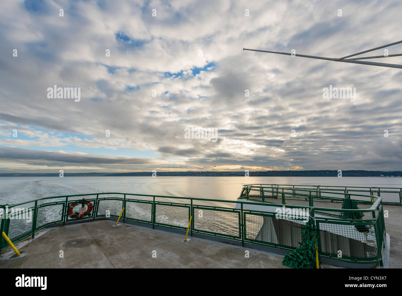 View from the stern of Washington State Ferry between Edmonds and Kingston looking back towards Edmonds, Washington, - Stock Image