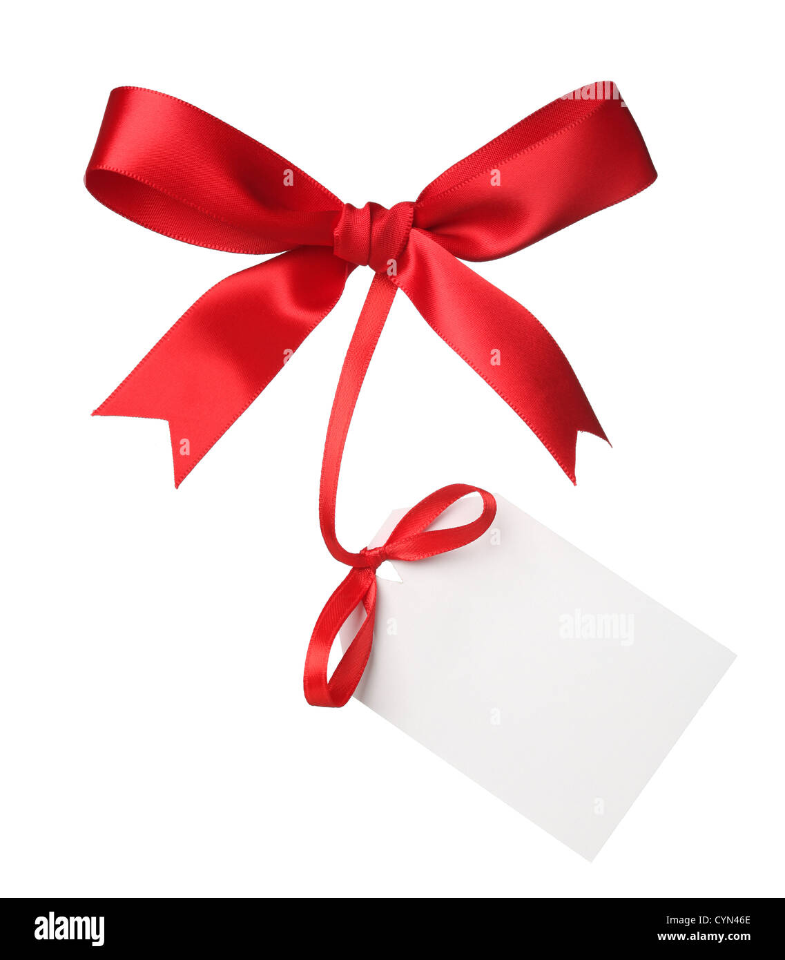 Red bow with blank label - Stock Image