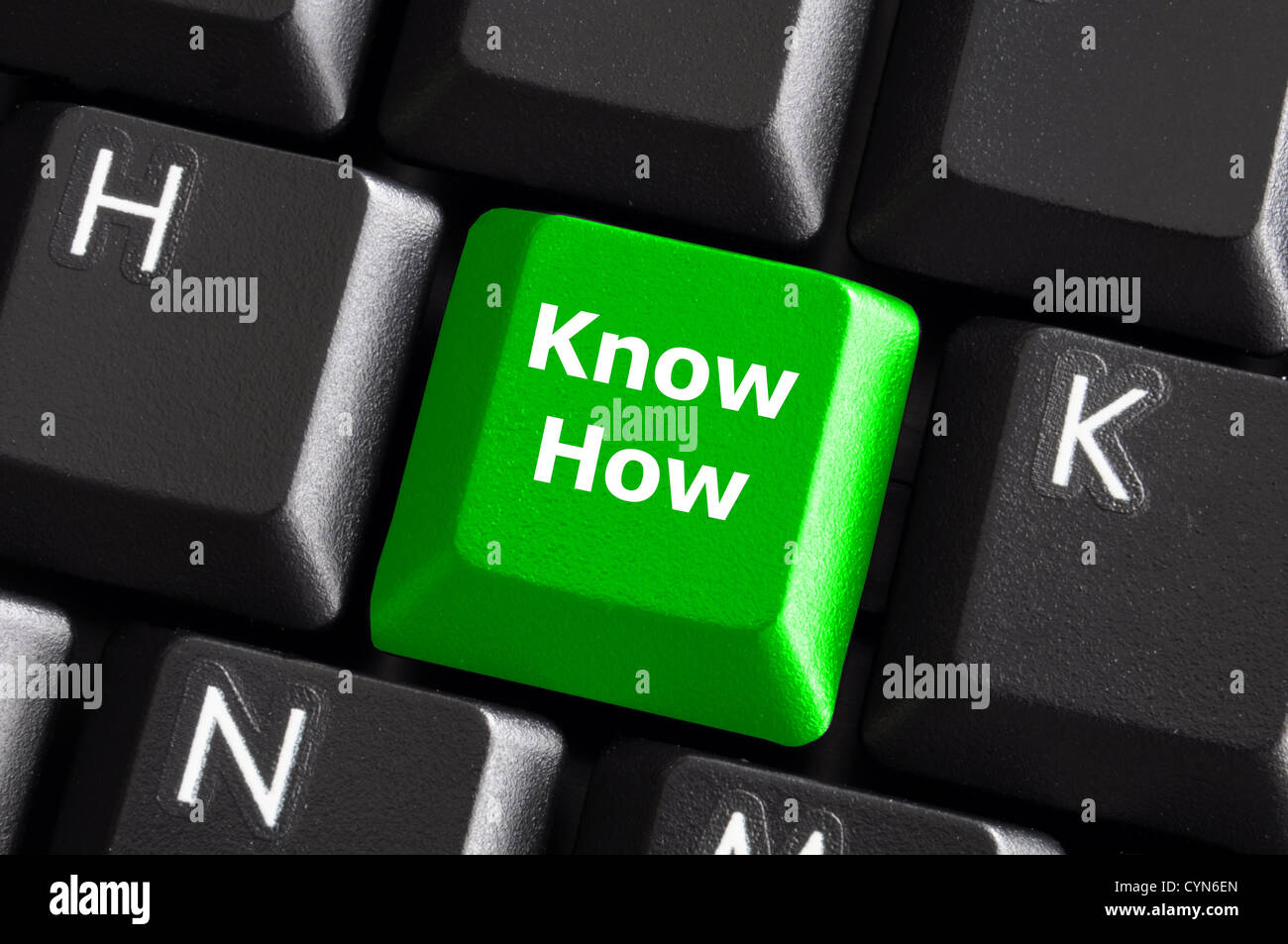 know how knowledge or education concept with green button on computer keyboard - Stock Image