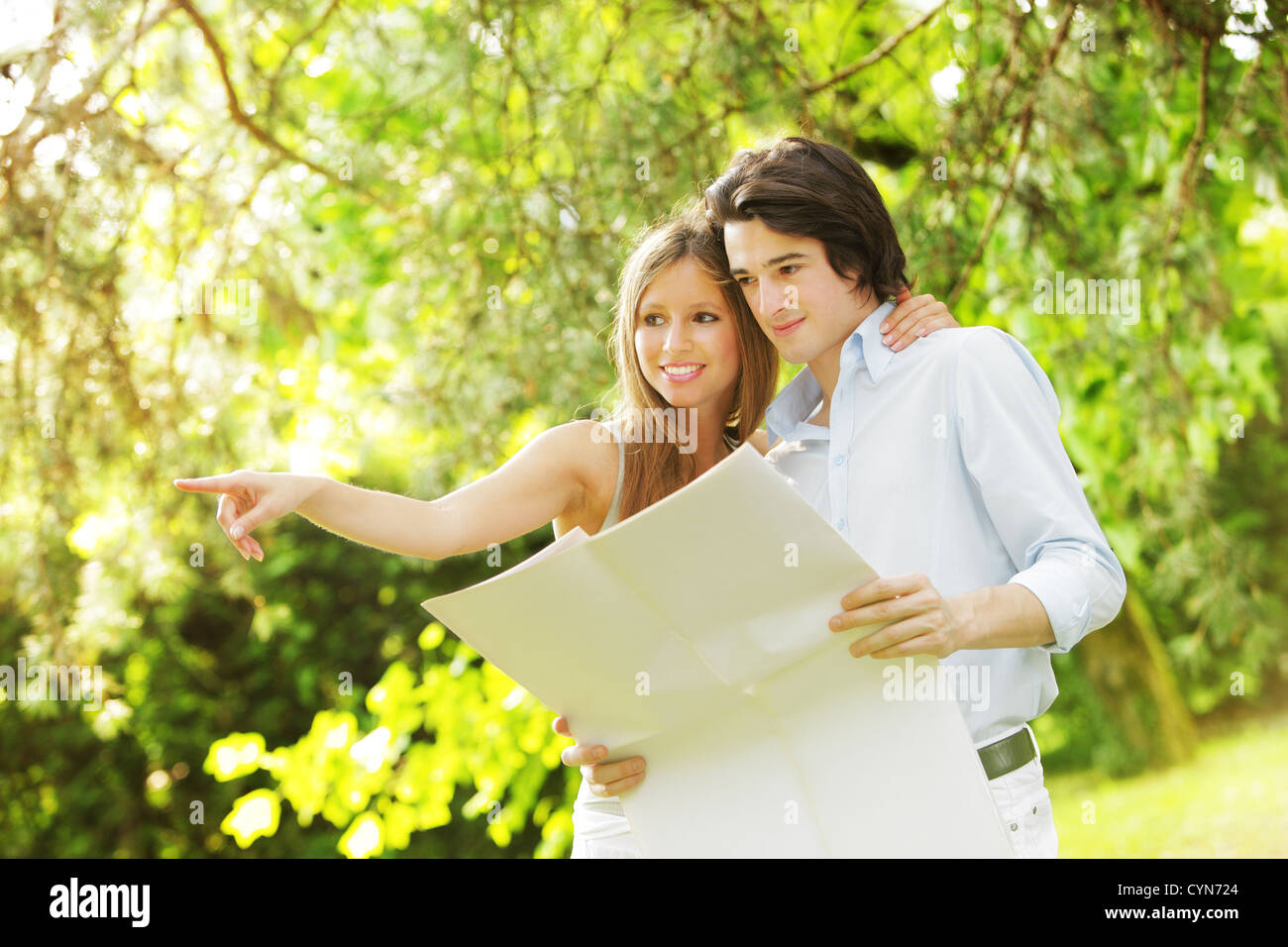 a young married couple imagines his new home - Stock Image