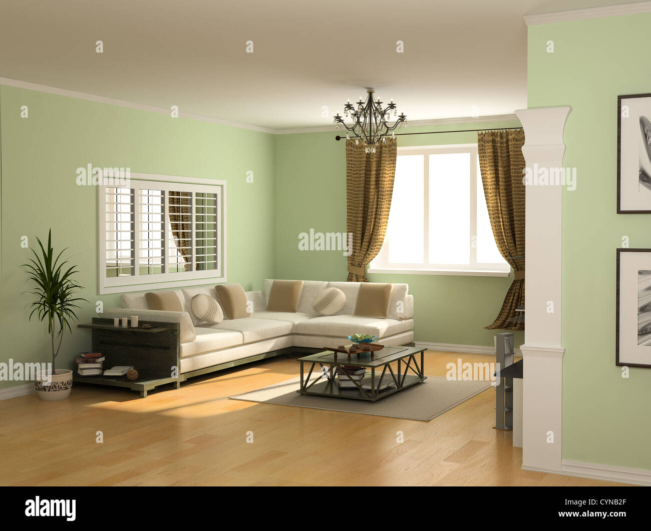 modern interior design (private apartment 3d rendering) - Stock Image