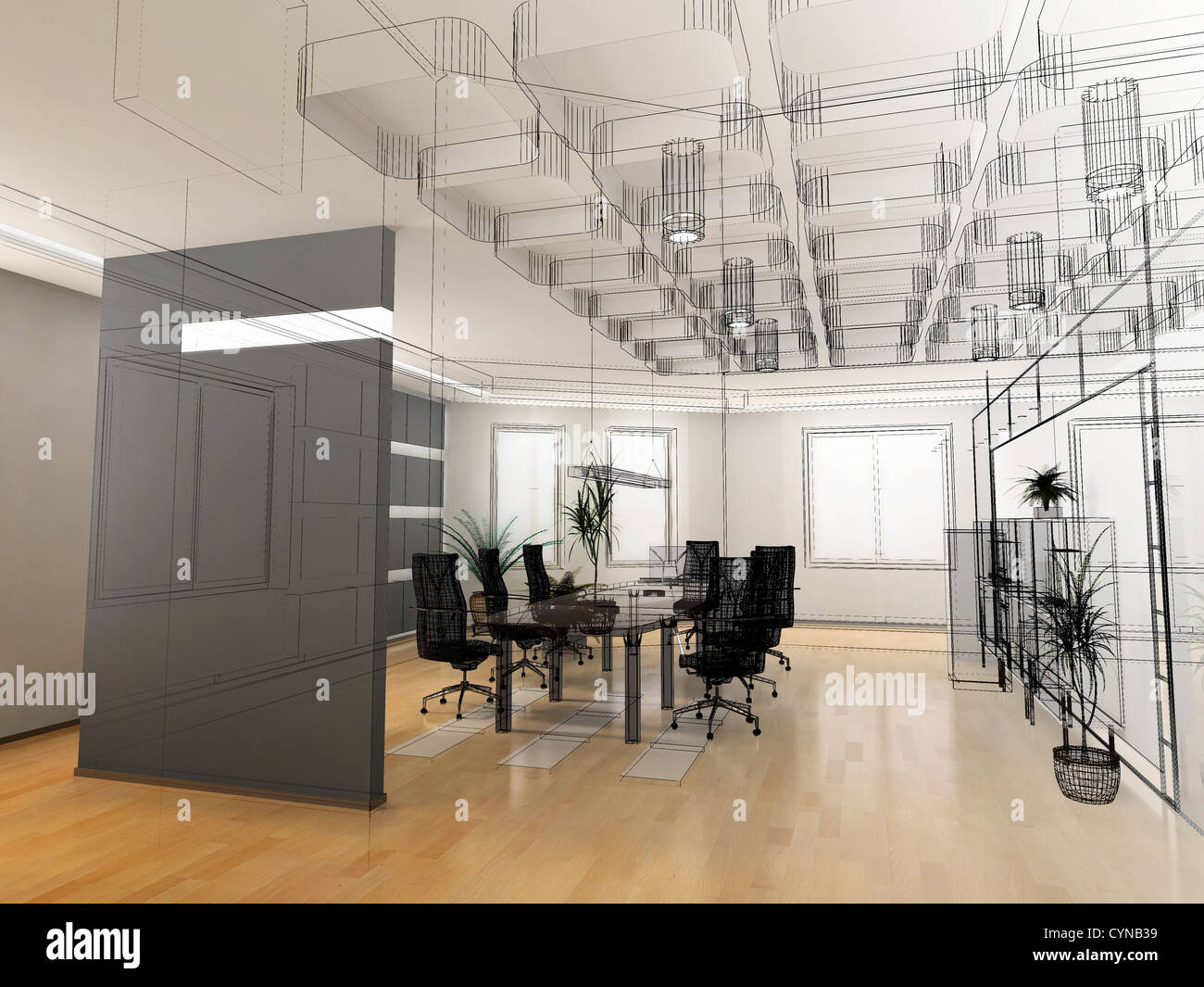 The modern office interior design sketch 3d render