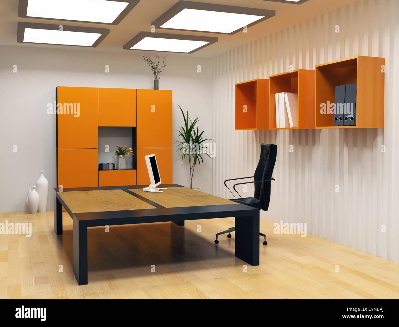 modern interior design of cabinet boss room(3D render) - Stock Image