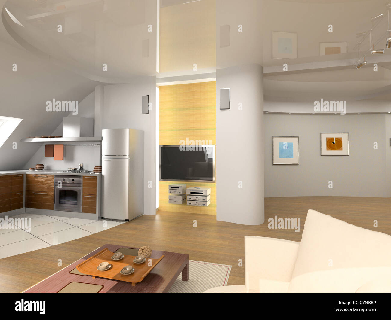 modern interior design (computer generated image 3D) - Stock Image
