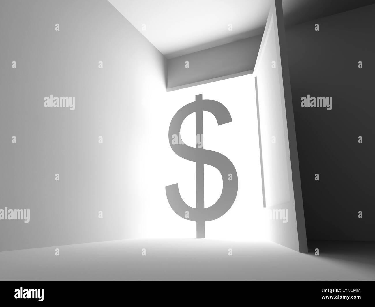 wide open doors. Dollar Symbol Over The Light Wide Open Door Doors