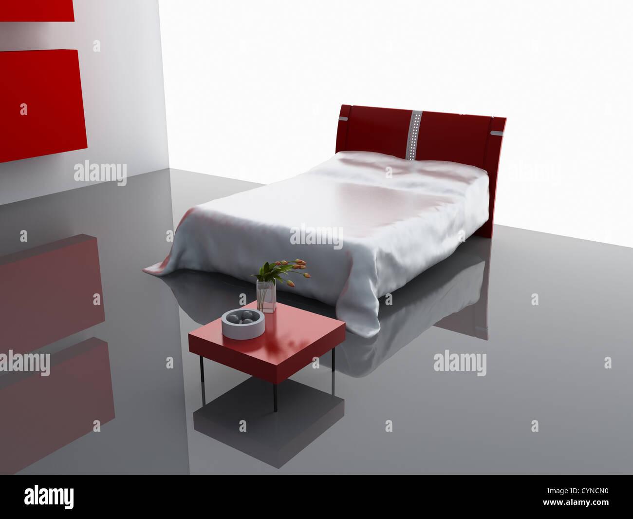 modern bedroom interior design (computer - generated image) - Stock Image