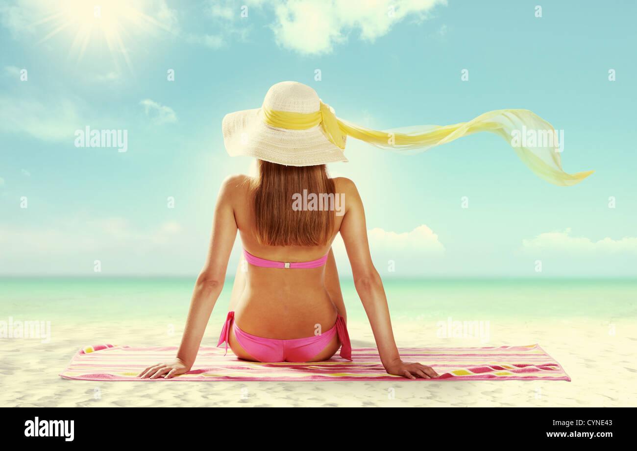 Summer girl on white background - Stock Image