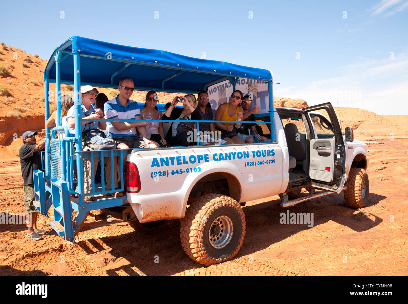 Antelope canyon tour truck full of young people - Stock Image